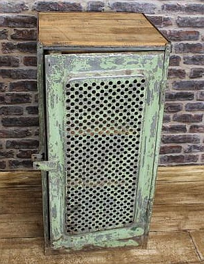 Vintage Industrial Metal Doors : Industrial locker with vented door in an original shabby