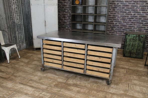 Stainless Steel Kitchen Island On Castors , Eighteen Pine