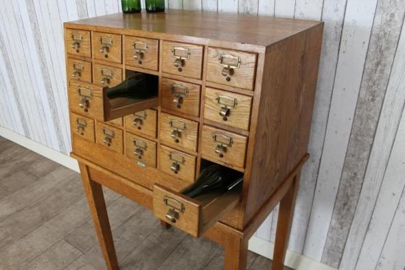 Vintage Retro Solid Oak Filing Cabinet Libraco Index Cabinet