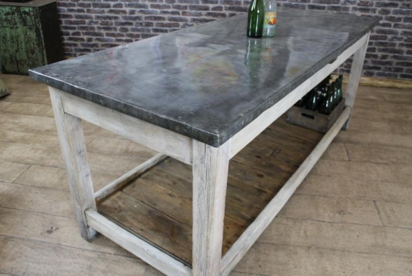Vintage industrial zinc top kitchen island storage counter for Kitchen zinc design