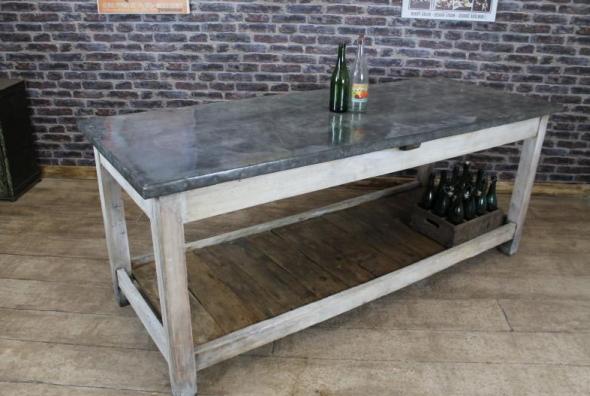 Vintage Industrial Zinc Top Kitchen Island Storage Counter