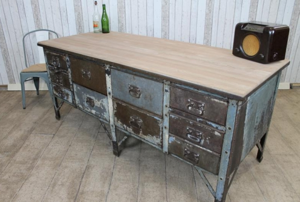 Vintage Industrial Metal Kitchen Island Work Bench