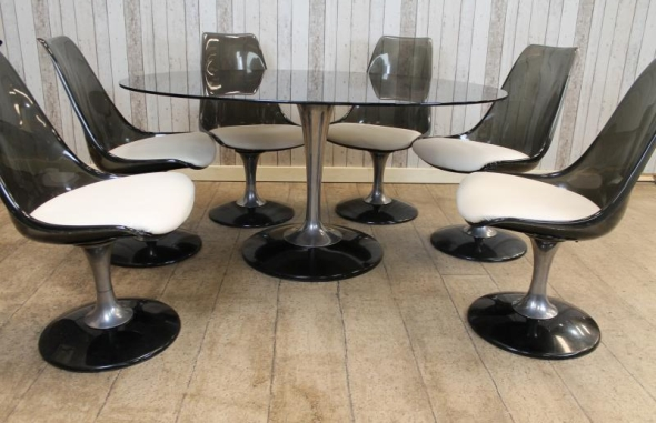 Vintage Retro Glass Table And Chairs Dining Setvintage