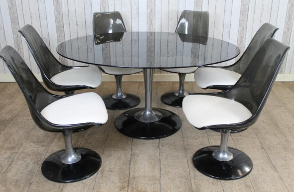 Vintage Retro Glass Table And Chairs Dining Set