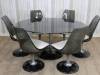 vintage glass table with chairs dining set