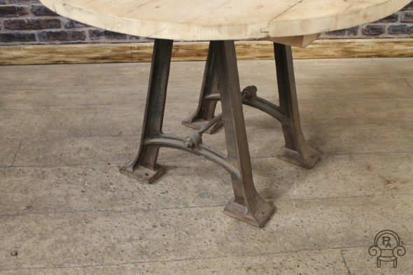 Round Industrial Table With A Cast Iron Base Vintage