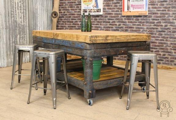 Vintage Butcher Block Kitchen Island Home Design Ideas - Metal butcher table