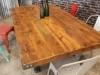 pine and cast iron table