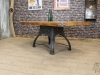vintage pine and cast iron table