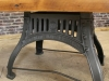 industrial pine and cast iron table