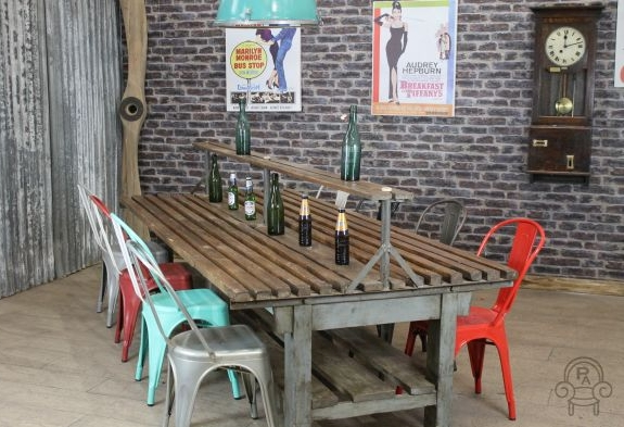 Industrial restaurant table large vintage - Table cuisine retro ...