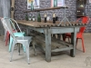 rustic timber and steel table