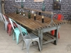 large timber and steel restaurant table