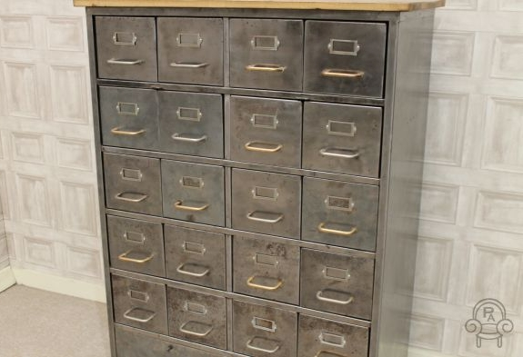 Industrial Metal Drawers Vintage Filing Cabinet