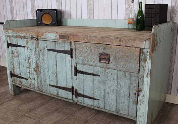 Pine Industrial Workbench Antique Sideboard