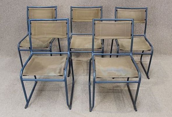 Vintage canvas and metal stacking chairs