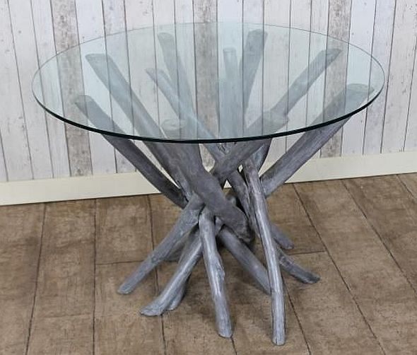 Elegant Driftwood Table Glass Top