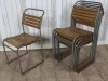 vintage slatted stacking chairs