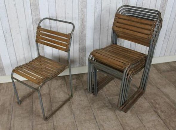 vintage stacking school chairs