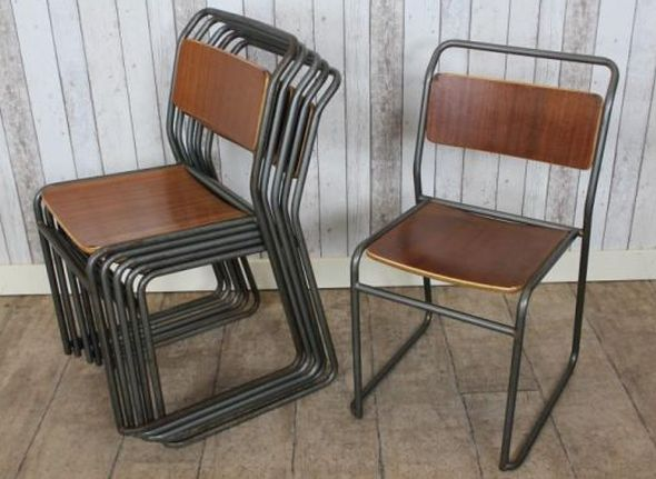Vintage Stacking School Chairs Original Plywood With