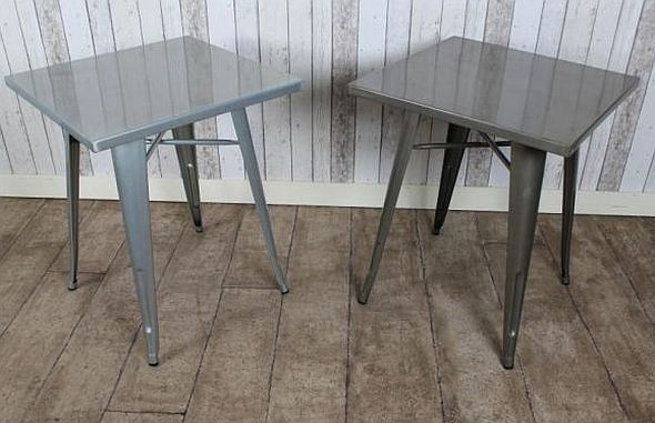 Tolix style tables metal cafe tables available in two for Table style tolix