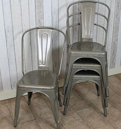 vintage gun metal chairs - METAL TOLIX CHAIR, AVAILABLE IN A CHOICE OF FOUR COLOURS, MATCHING TAB