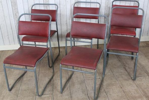 Vintage Upholstered Stackable Chairs