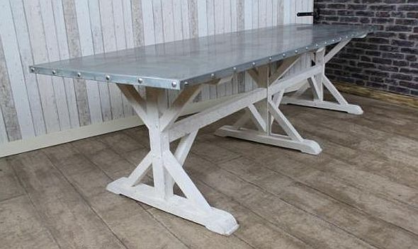 Zinc Top Dining Table A Very Large Metal Topped Table