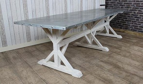 Zinc Top Dining Table A Very Large