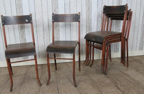 Metal stacking chairs retro