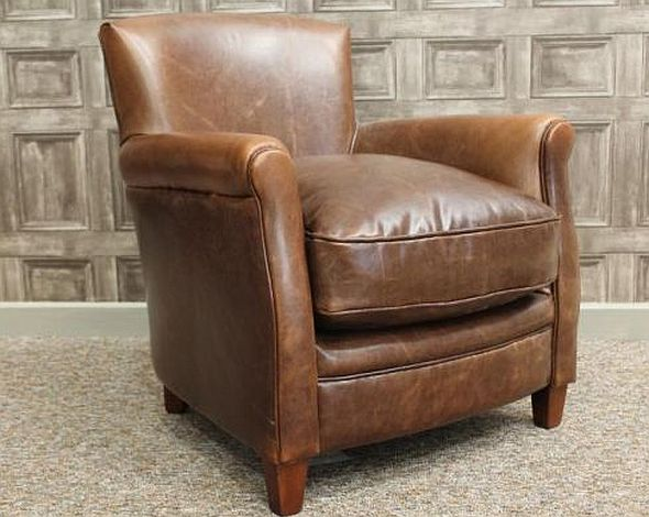 A VINTAGE STYLE LEATHER ARMCHAIR, BROWN AGED LEATHER