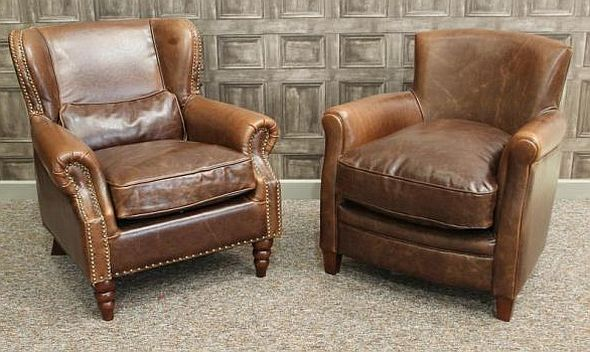 A VINTAGE STYLE LEATHER ARMCHAIR, BROWN AGED ...