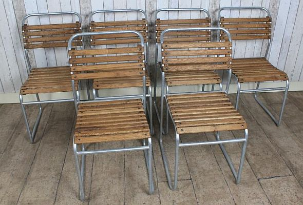 Galvanised Stacking Chair Classic Tubular Design With