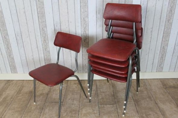 Original Vintage Stacking Chairs Authentic Red Stackable