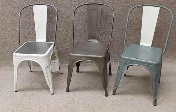 Grey Tolix Style Chair Industrial Metal Cafe Chairs