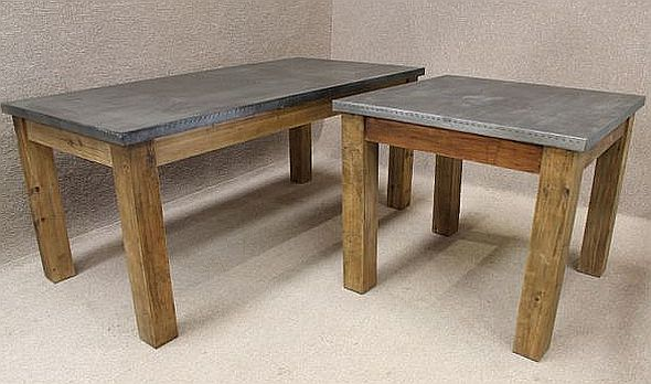 ZINC TOPPED TABLE RECLAIMED PINE BASE AND AVAILABLE IN  : industrial dining table from vintageindustrialretro.com size 590 x 348 jpeg 57kB