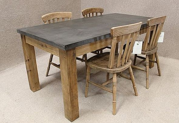 Zinc Topped Table Reclaimed Pine Base And Available In