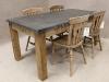 large metal top kitchen table
