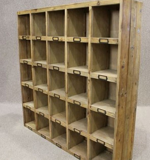 Reclaimed Pine Bookcase Letter Rack Pigeon Hole Bookcase
