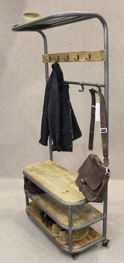 Industrial Coat Stand Metal And Reclaimed Pine Lockable