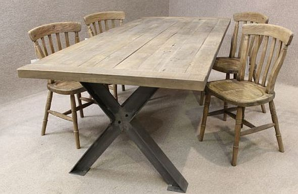 Metal base table a sturdy industrial style table with an oak top - Industrial kitchen tables ...