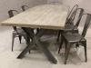 industrial metal leg oak table