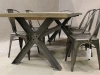 metal cross leg oak table
