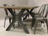 metal cross leg oak table