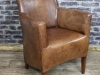 industrial style leather armchair