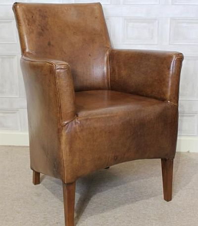 SMALL LEATHER ARMCHAIR, A VINTAGE STYLE CHAIR, BROWN AGED ...