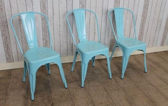 blue metal dining tolix style chairs