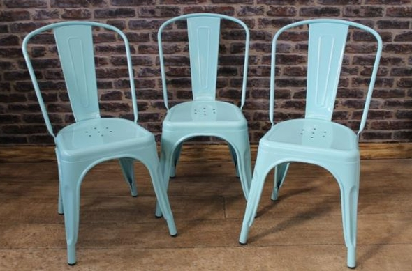Vintage Retro Tolix Style Dining Chair In Blue