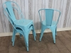 blue tolix style chairs vintage