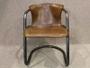 tubular metal and leather armchair industrial style